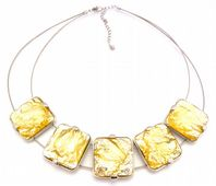 Chunky Foiled Gold Adjustable Length Bib Collar Necklace.